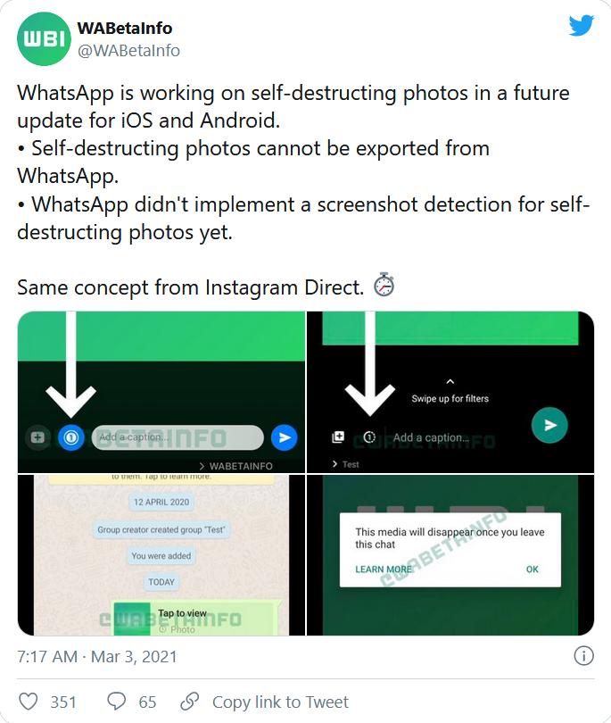 whatsapp self destructing feature, Crave Monger